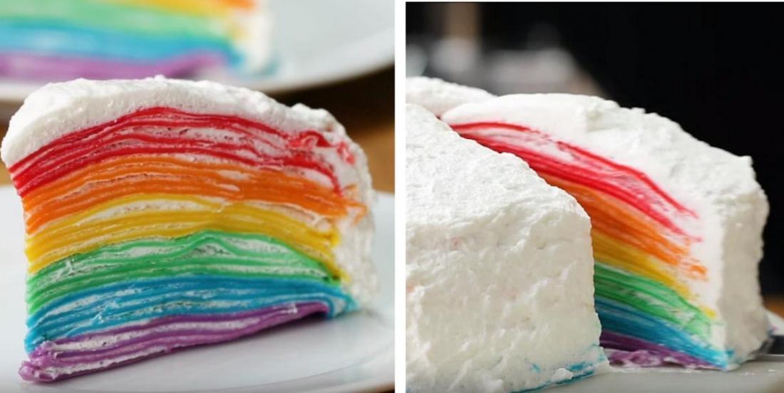Pour une fête ou un brunch, ce gâteau aux crêpes arc-en-ciel volera la vedette