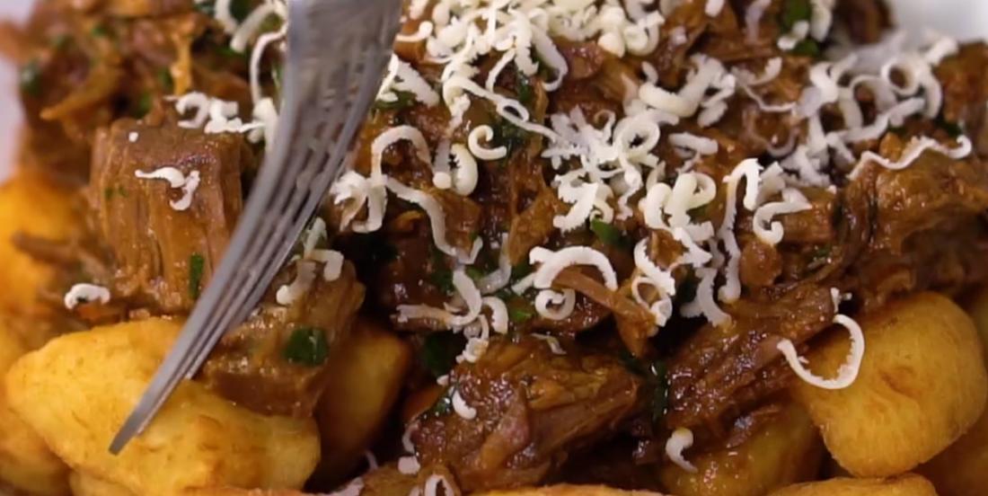 Gnocchis frits et boeuf en sauce