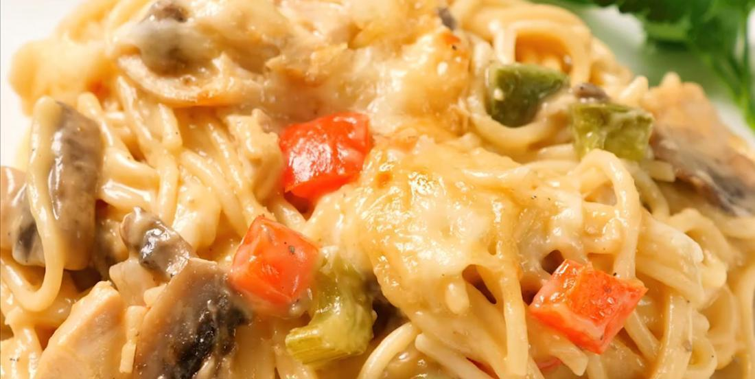 Spaghetti au poulet gratiné