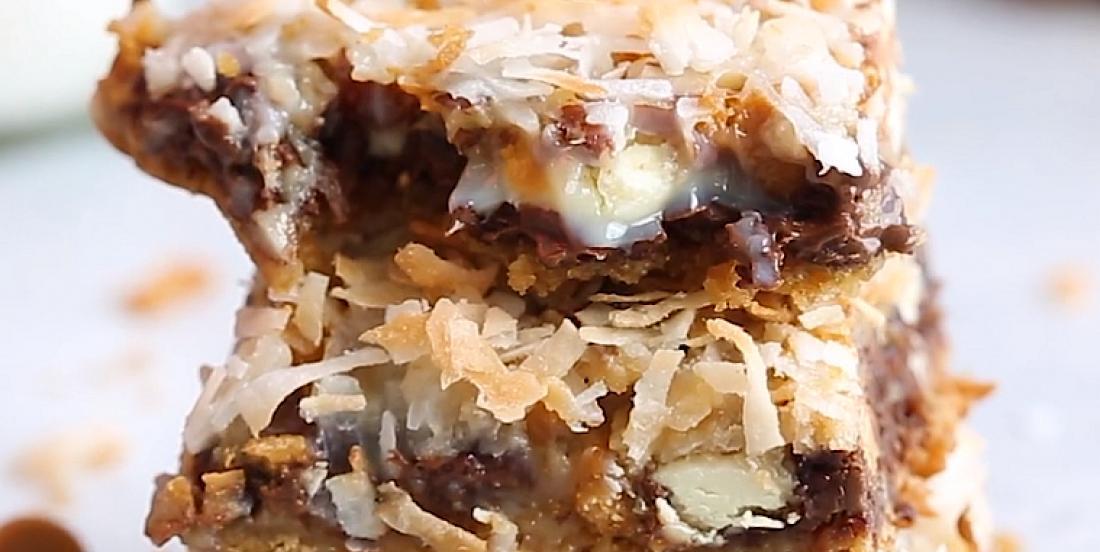 Extraordinaires barres dessert chocolat, caramel et noix de coco