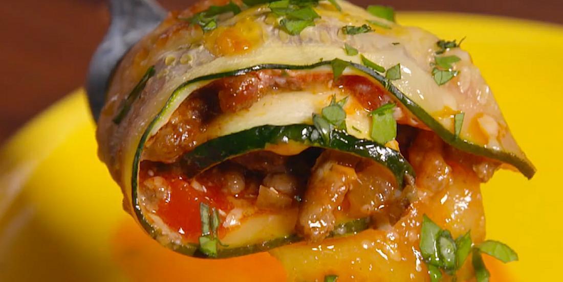 Rouleaux de courgettes au four farcis comme des tacos