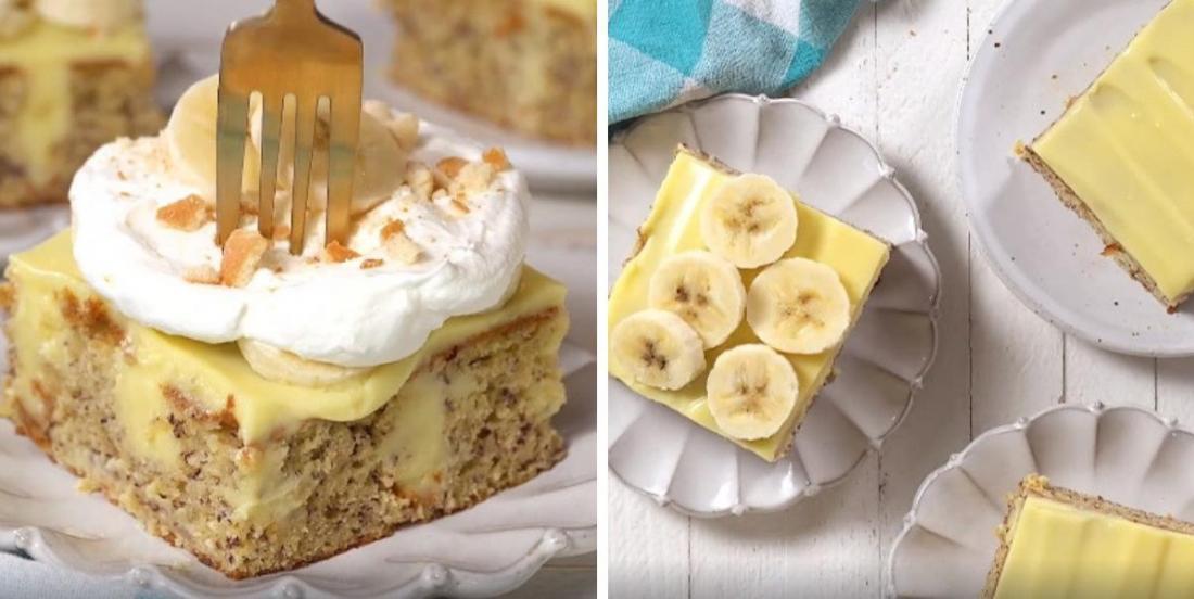 Divin gâteau vanille-bananes nappé de pouding onctueux