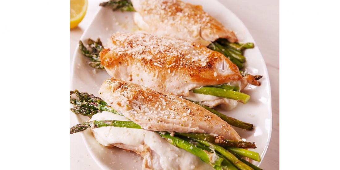 Poitrines de poulet farcies aux asperges et au fromage
