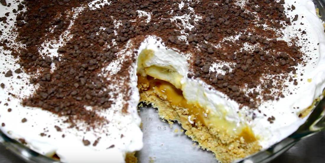 Délicieuse tarte frigidaire aux bananes et au caramel