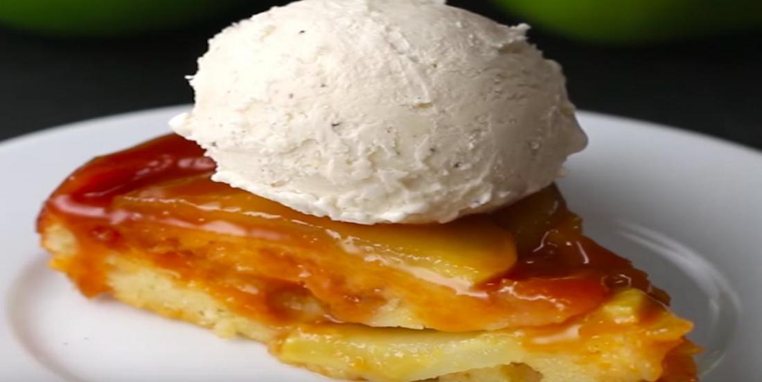 Délicieuse tarte renversée aux pommes et au caramel