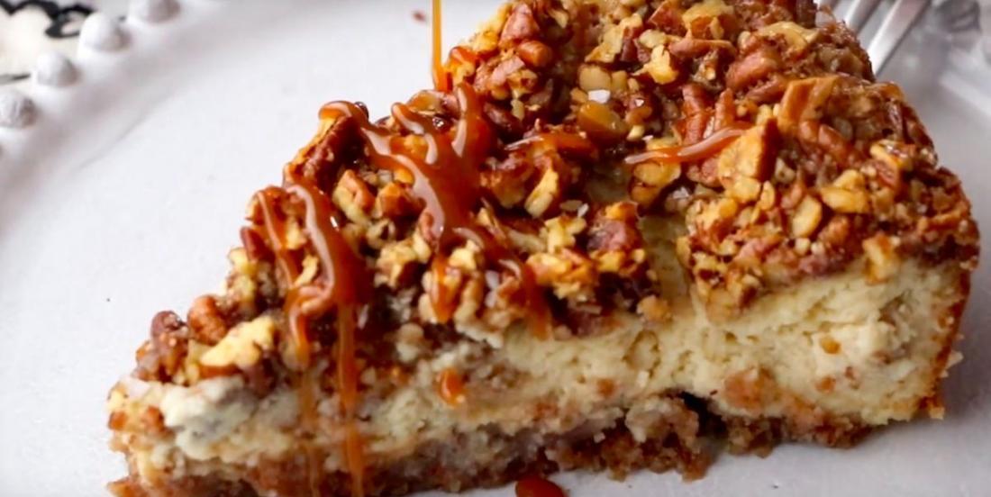 Gâteau au fromage aux pacanes caramélisées