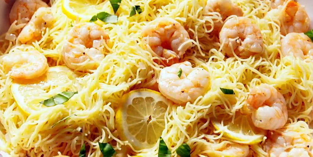 Pâtes aux crevettes à l'ail et au citron