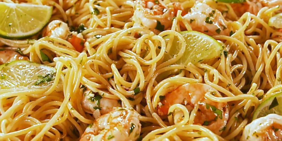 Pâtes aux crevettes lime et coriandre
