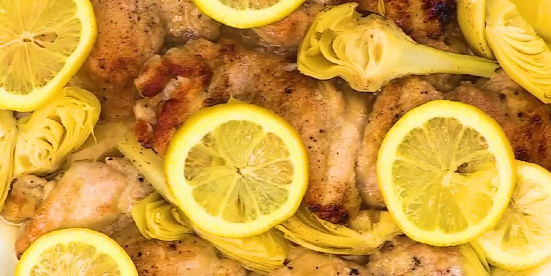 Cuisses de poulet citronnées aux artichauts