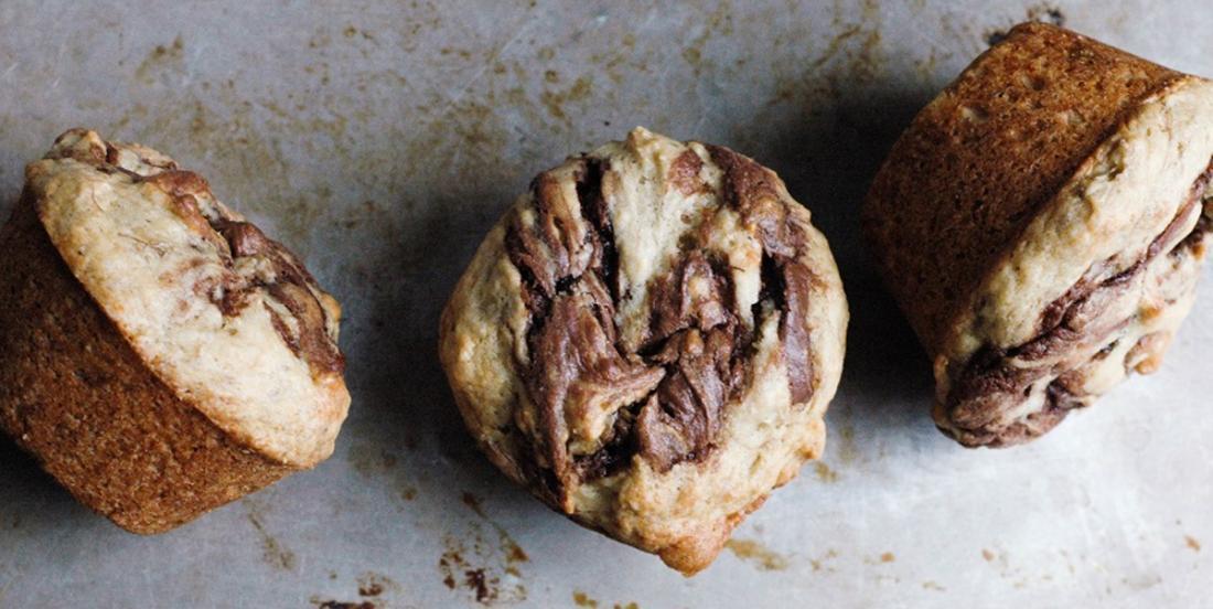 Le meilleur muffins aux bananes et tourbillons de Nutella!