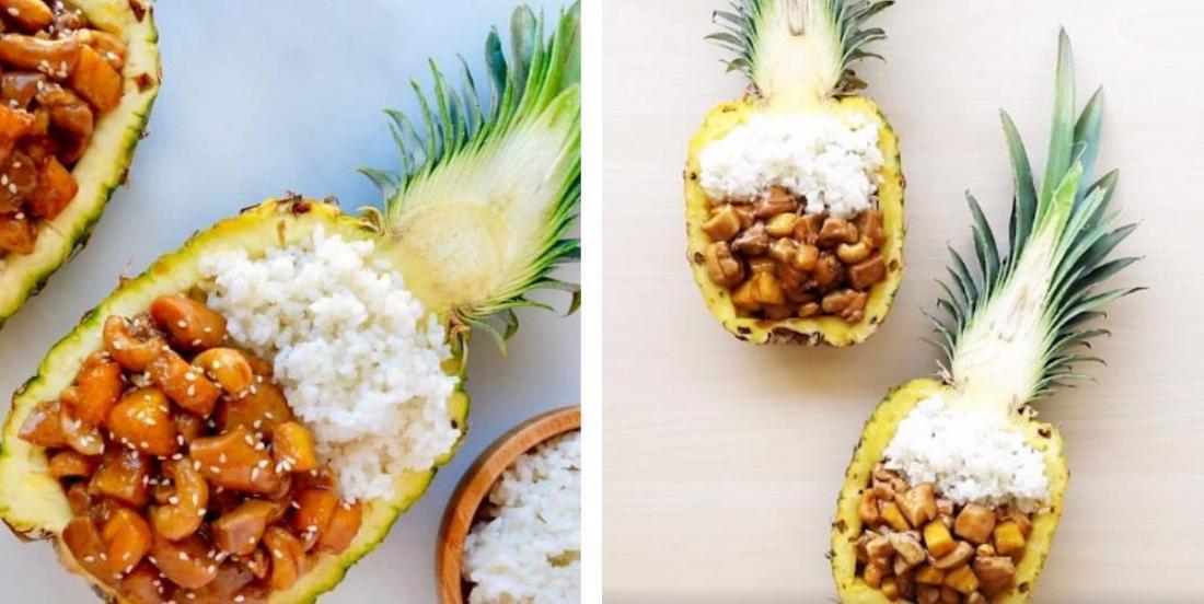 Poulet à l'ananas servi... dans un ananas!