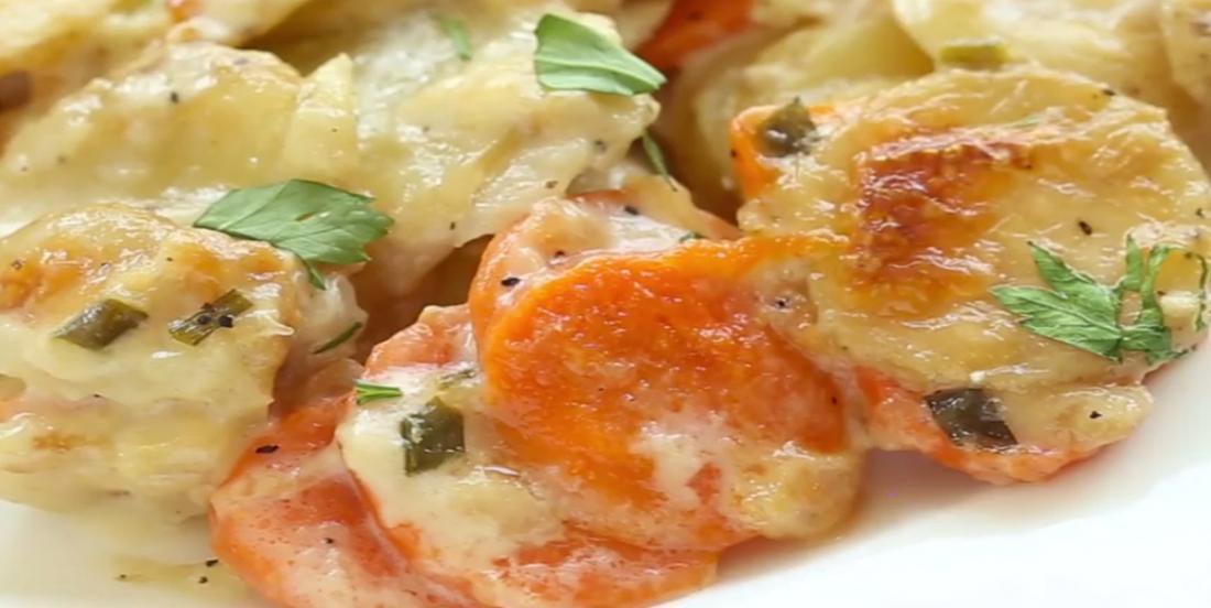 Gratin aux pommes de terre et aux carottes à l'ail et au parmesan