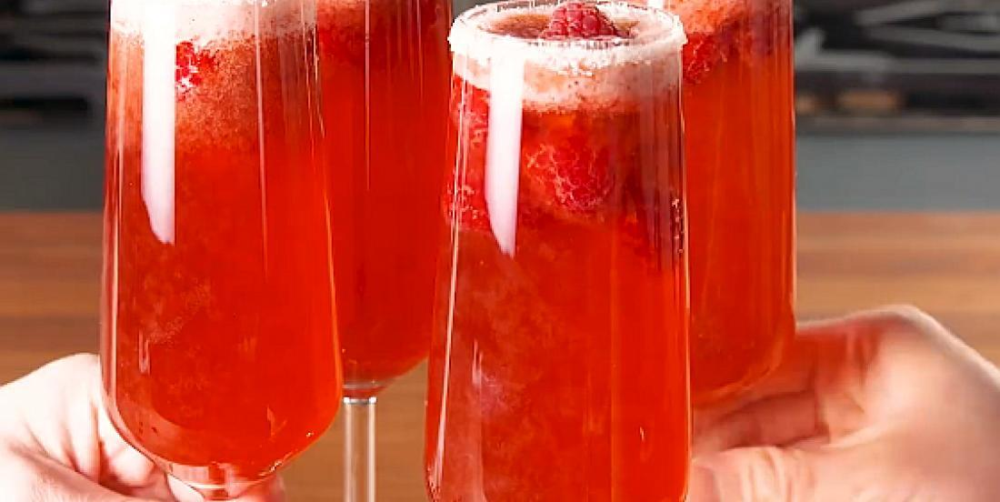 Mimosas rosés aromatisés à la framboise