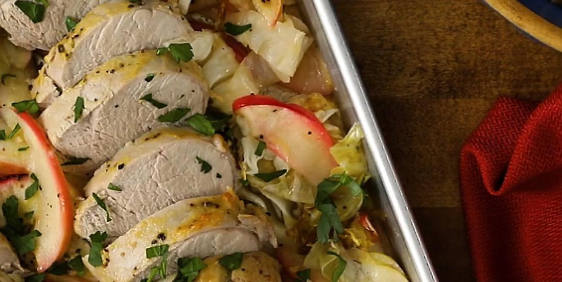 Tendre filet de porc aux pommes et à la moutarde de Dijon