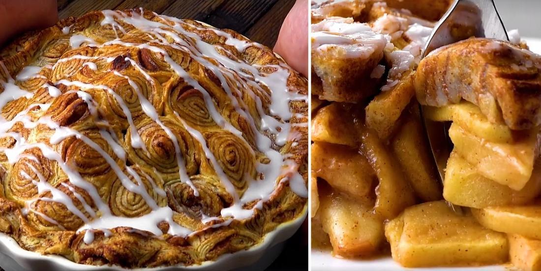 Tarte aux pommes dans une pâte feuilletée à la cannelle