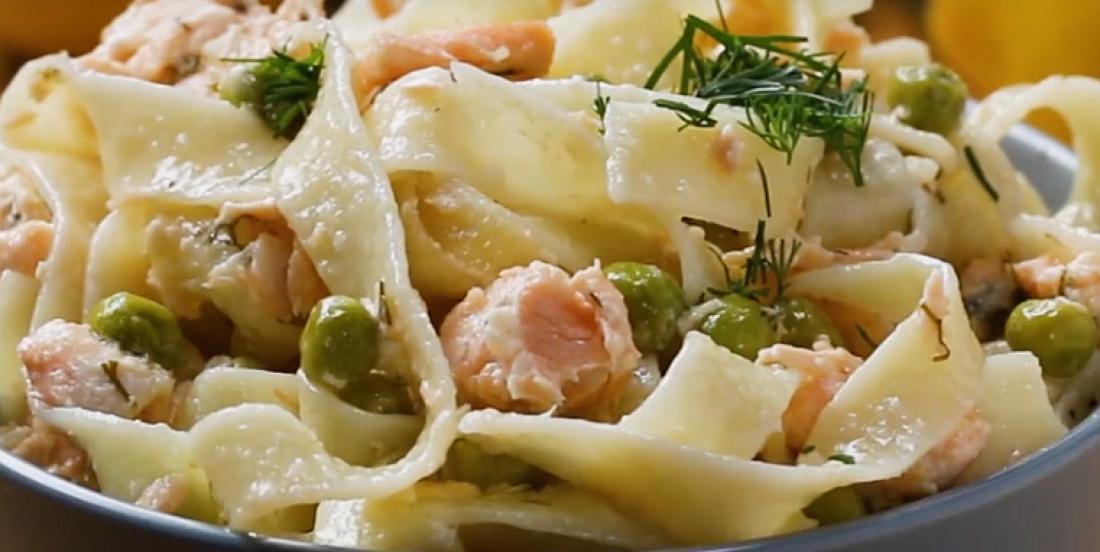 Irrésistibles pâtes au saumon frais, à l'aneth et aux pois