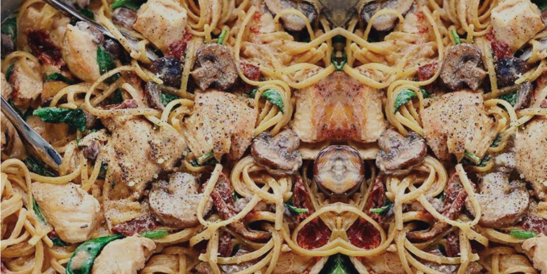 Linguine à la Florentine : Du poulet, des champignons et épinards dans une sauce des plus crémeuses