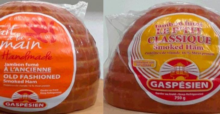 Rappel de jambon de la marque Gaspésien pour cause de Listériose