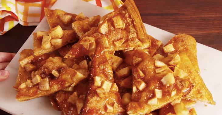 Ce dessert addictif combine pizza et pomme au caramel