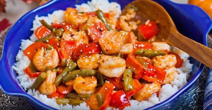 Crevettes aigres-douces aux légumes